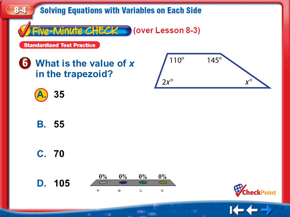 What is the value of x in the trapezoid
