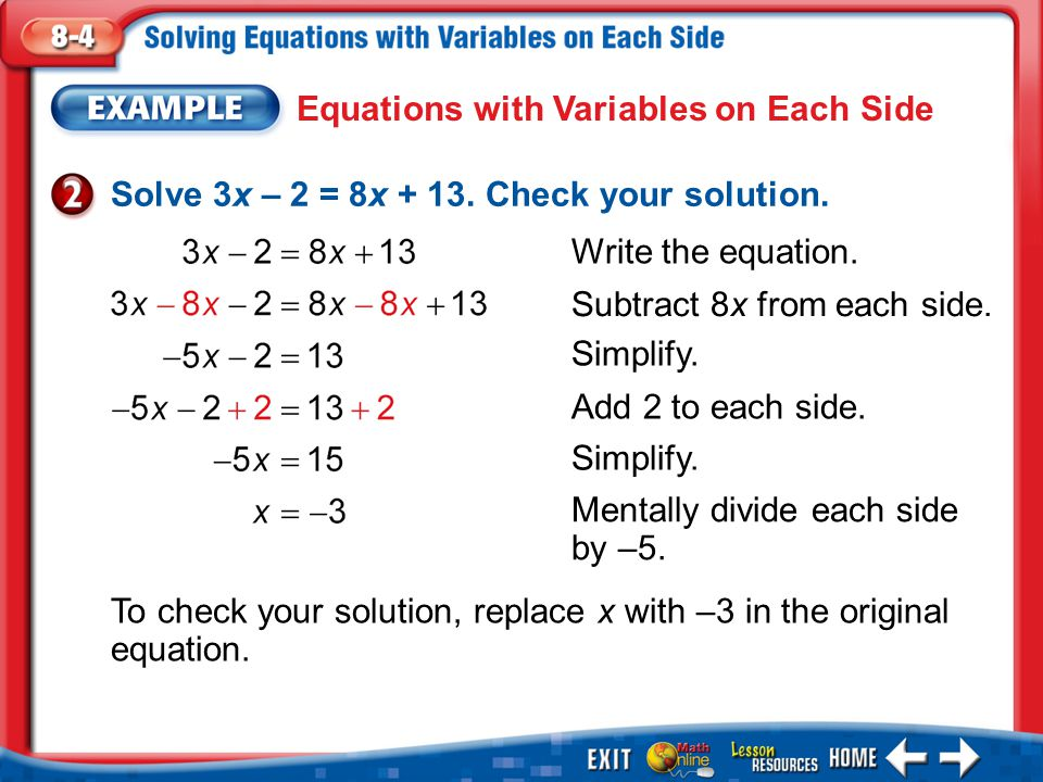 Equations with Variables on Each Side