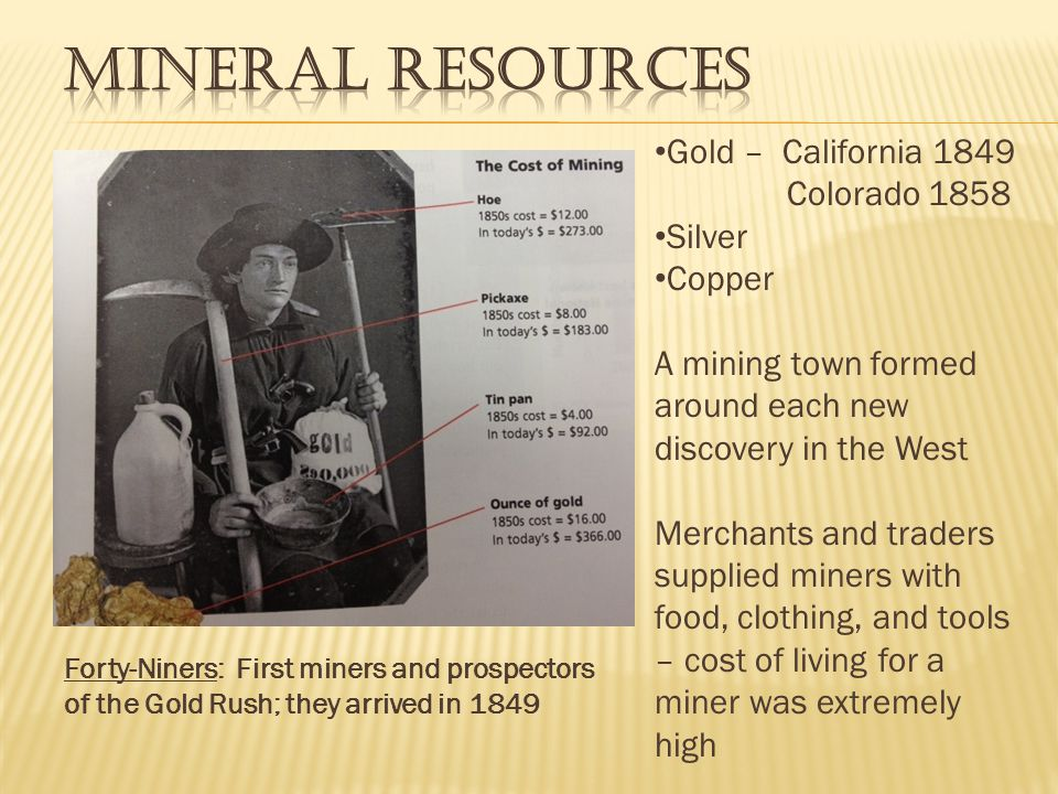 Mineral Resources Gold – California 1849 Colorado 1858 Silver Copper