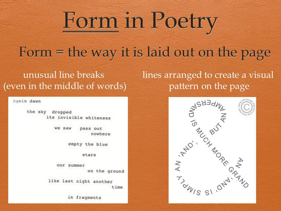 Form = the way it is laid out on the page