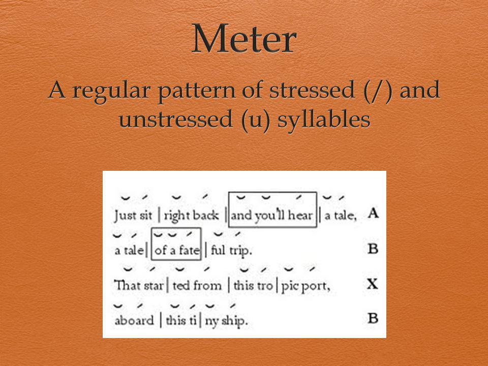 A regular pattern of stressed (/) and unstressed (u) syllables
