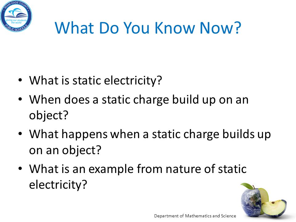 What Do You Know Now What is static electricity