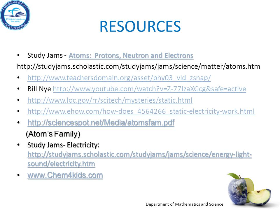 RESOURCES Study Jams - Atoms: Protons, Neutron and Electrons