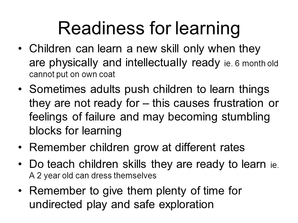 Readiness for learning
