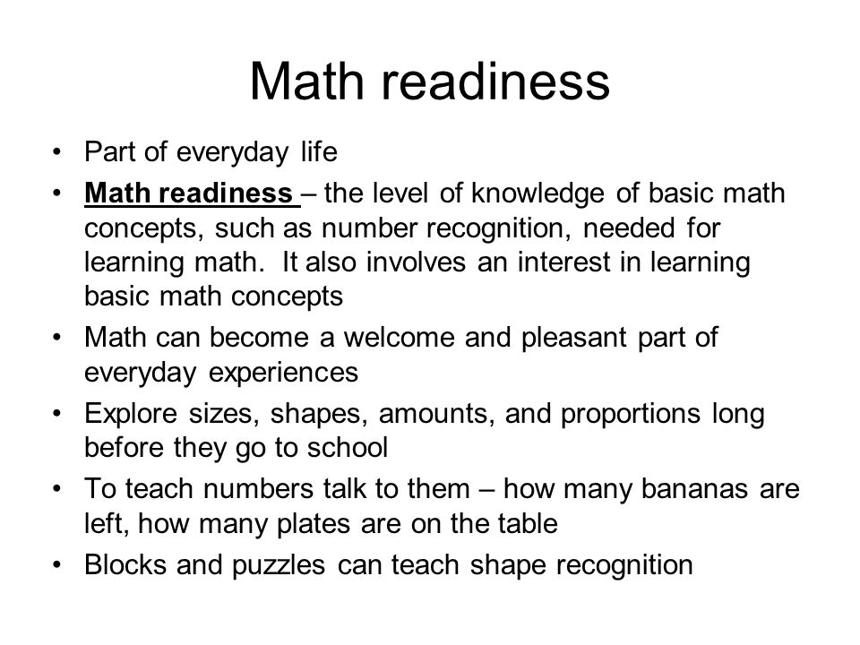 Math readiness Part of everyday life