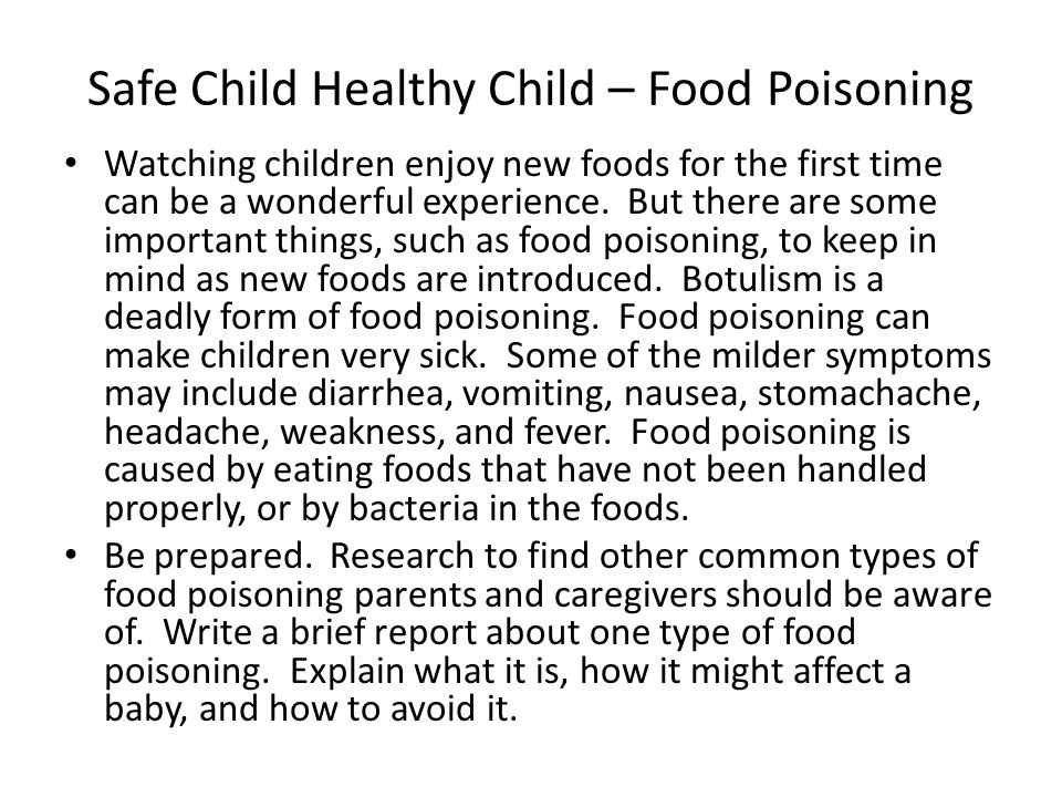 Safe Child Healthy Child – Food Poisoning