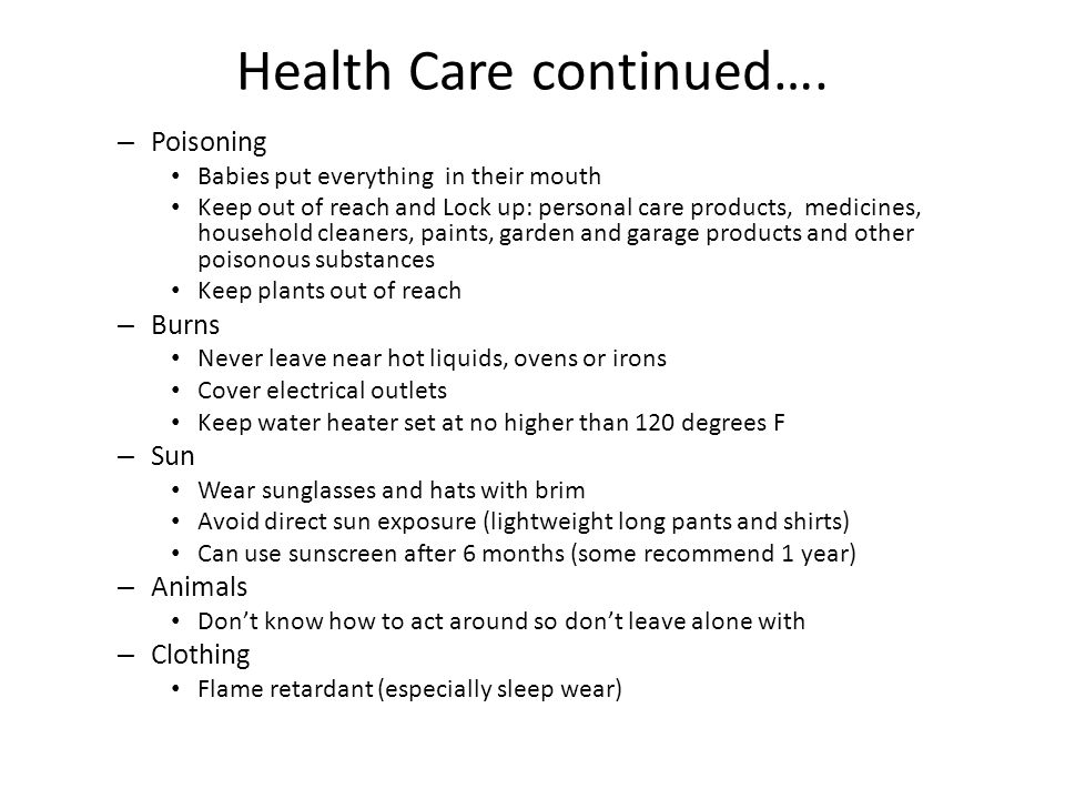 Health Care continued….