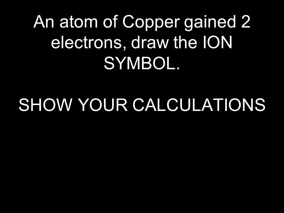 An atom of Copper gained 2 electrons, draw the ION SYMBOL