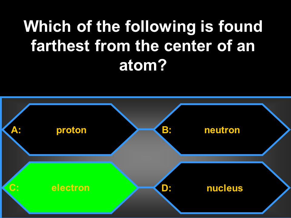Which of the following is found farthest from the center of an atom