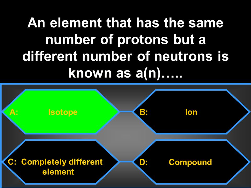 An element that has the same number of protons but a different number of neutrons is known as a(n)…..