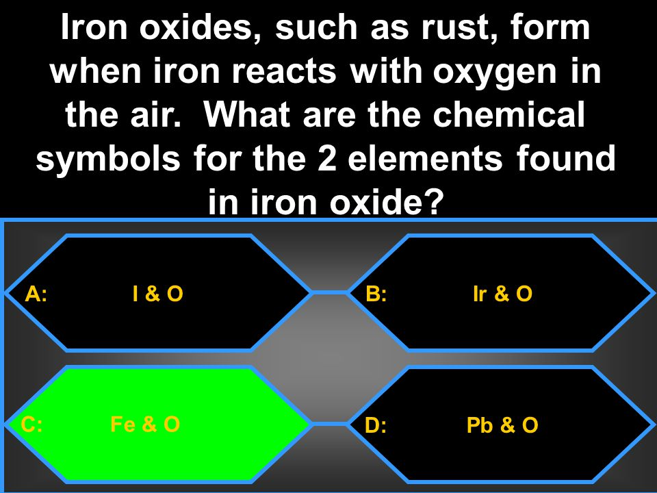 Iron oxides, such as rust, form when iron reacts with oxygen in the air. What are the chemical symbols for the 2 elements found in iron oxide
