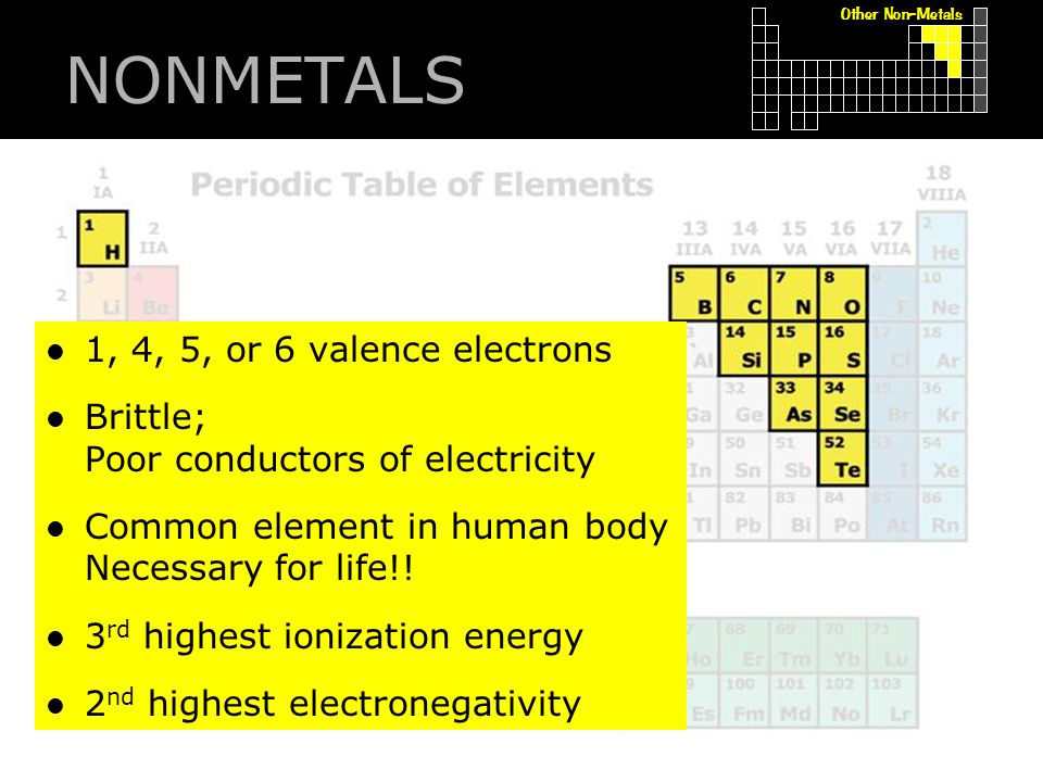 NONMETALS 1, 4, 5, or 6 valence electrons