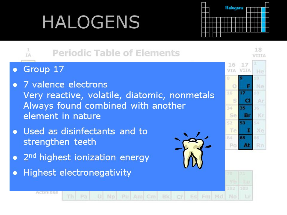 HALOGENS Group 17. 7 valence electrons Very reactive, volatile, diatomic, nonmetals Always found combined with another element in nature.