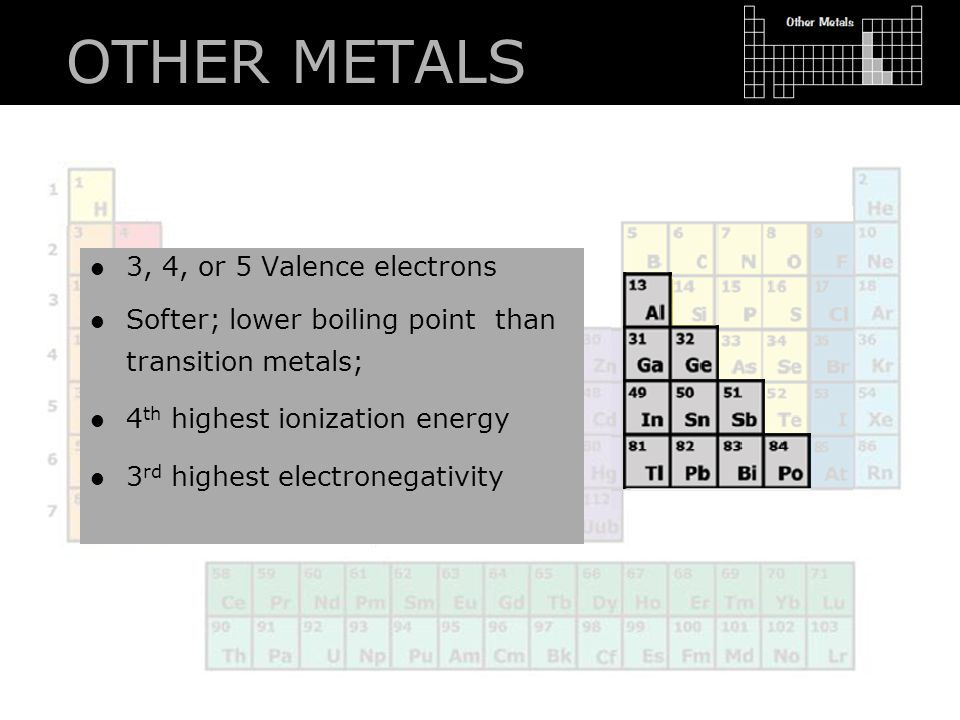 OTHER METALS 3, 4, or 5 Valence electrons