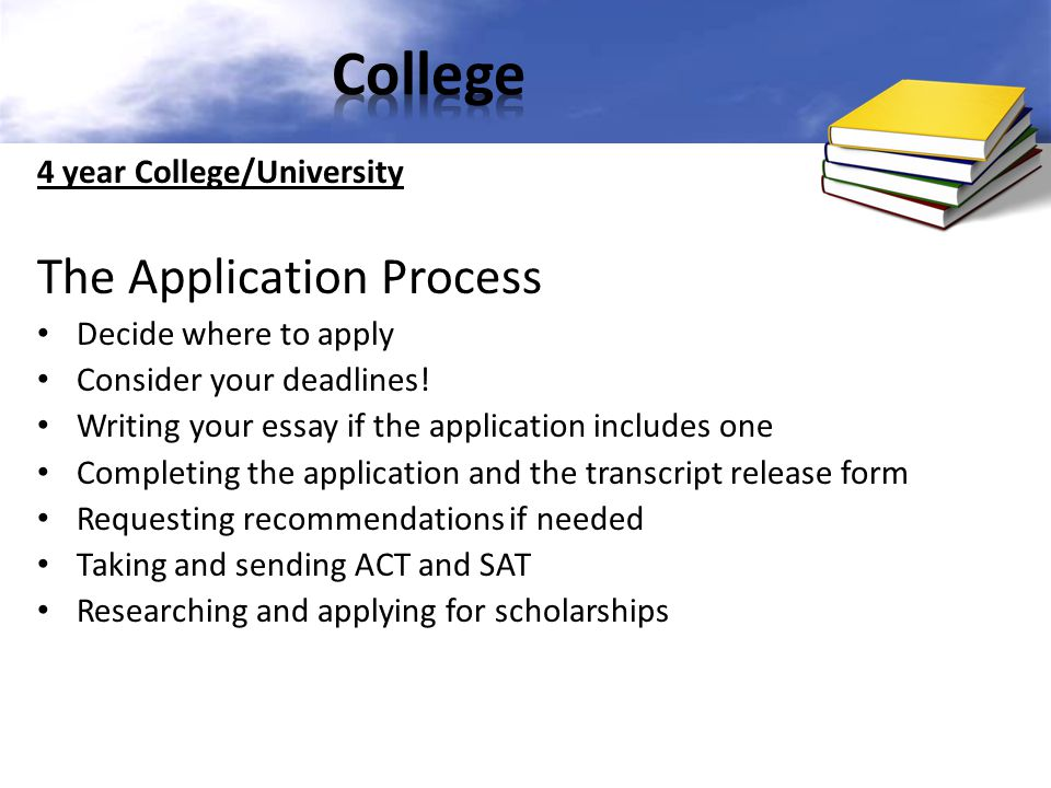 College The Application Process 4 year College/University