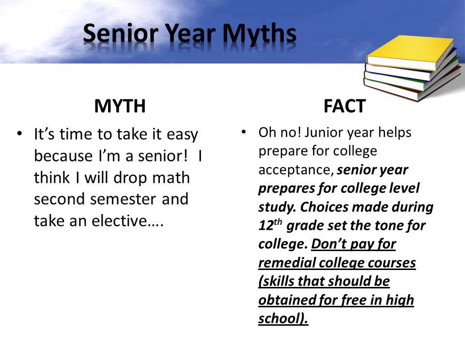 Senior Year Myths MYTH FACT