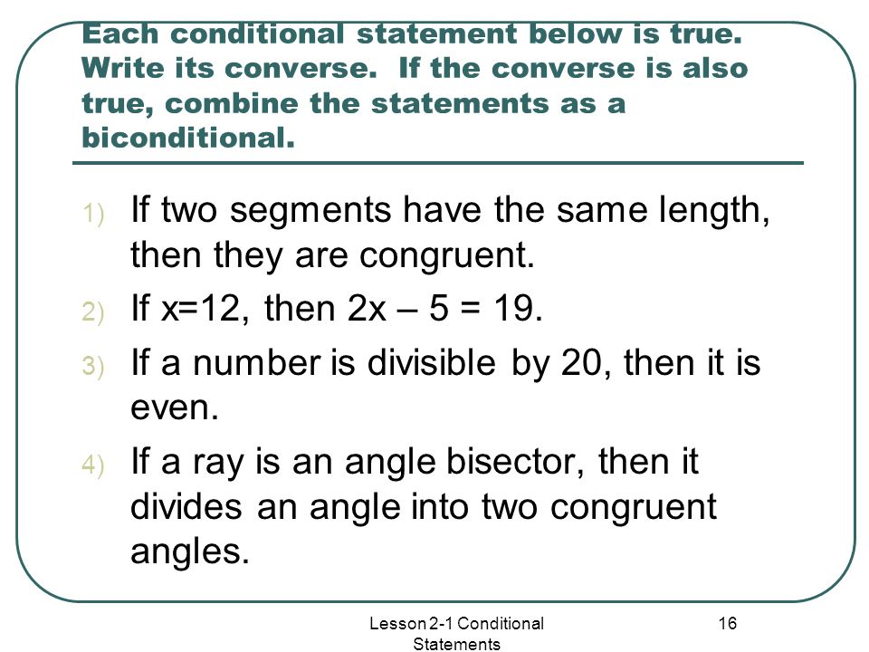 Lesson 2-1 Conditional Statements
