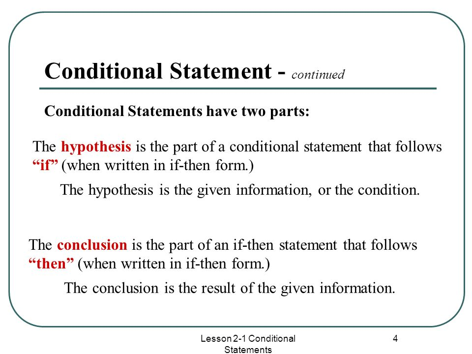 Conditional Statement - continued
