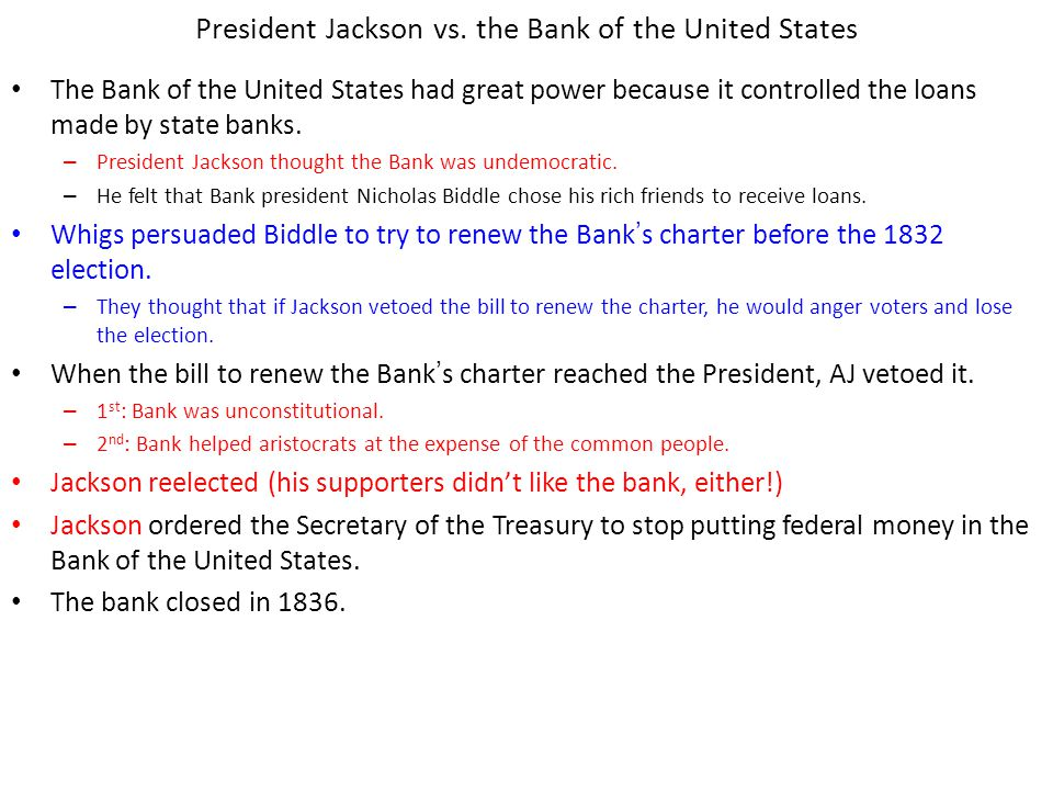 President Jackson vs. the Bank of the United States