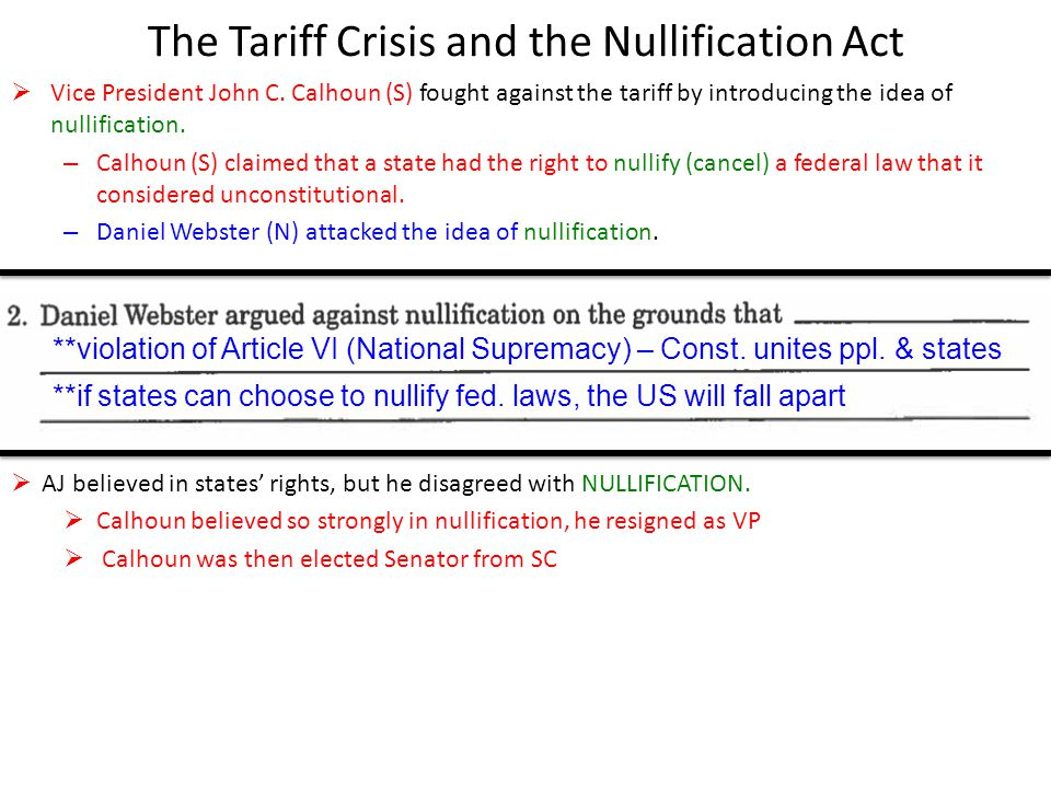 The Tariff Crisis and the Nullification Act