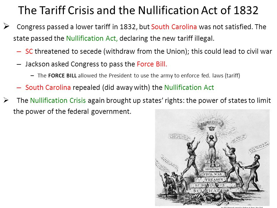 The Tariff Crisis and the Nullification Act of 1832