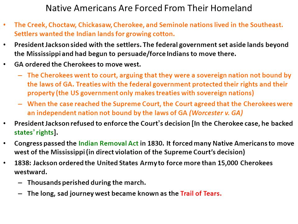 Native Americans Are Forced From Their Homeland