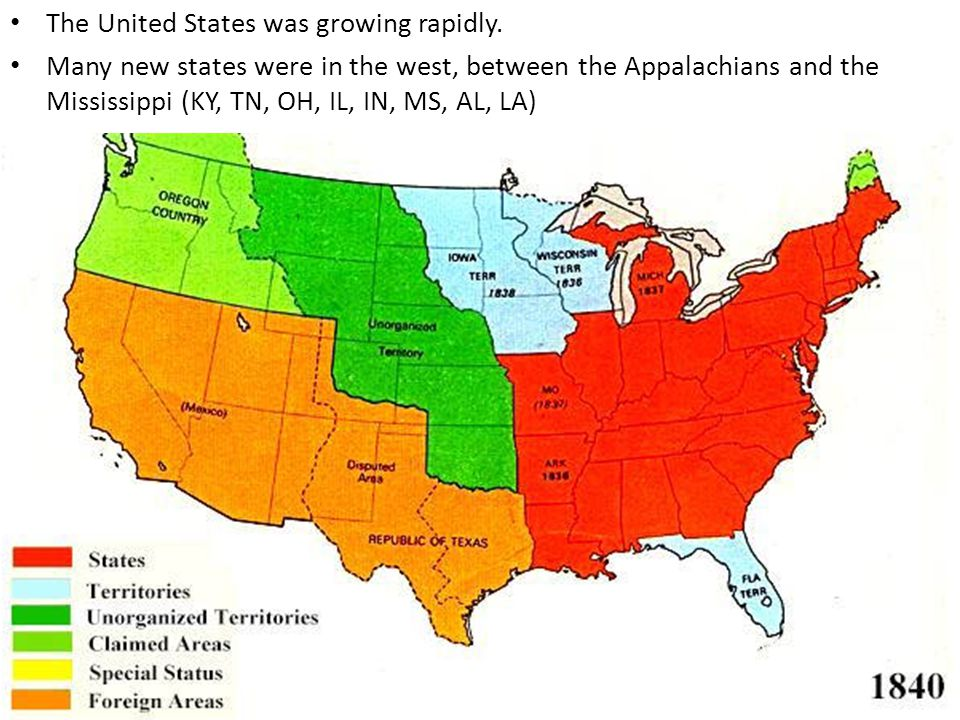 The United States was growing rapidly.