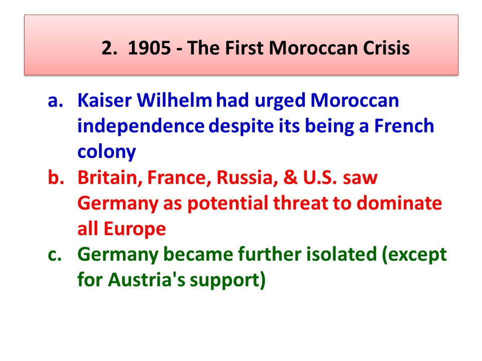 2. 1905 - The First Moroccan Crisis