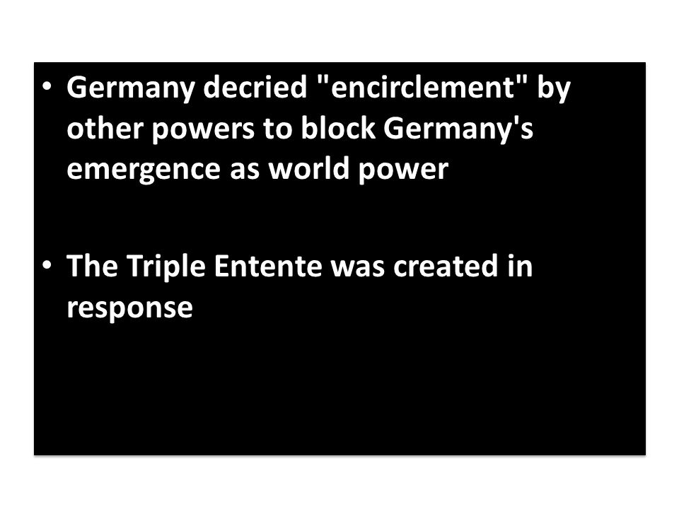 Germany decried encirclement by other powers to block Germany s emergence as world power