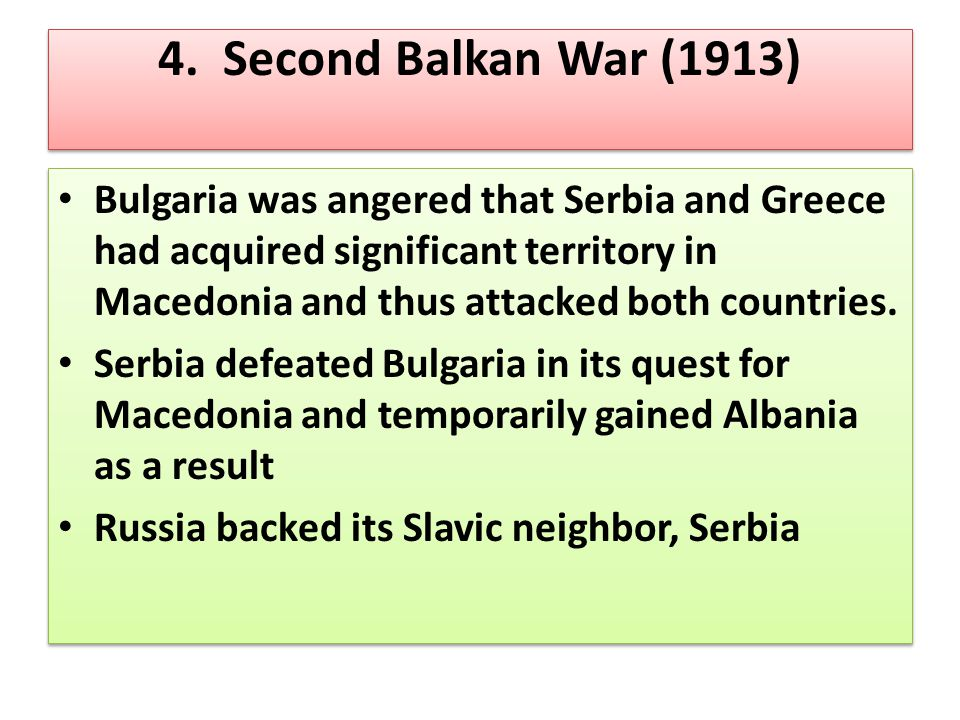 4. Second Balkan War (1913)