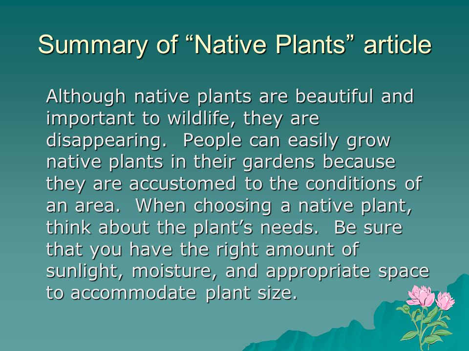 Summary of Native Plants article