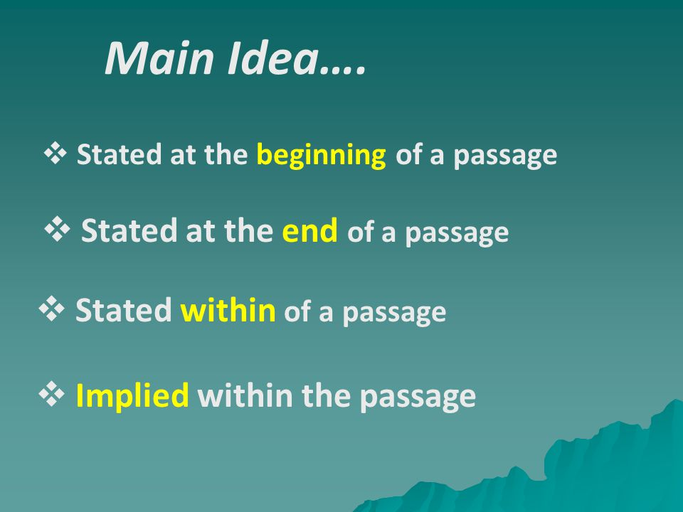 Main Idea…. Stated at the end of a passage Stated within of a passage