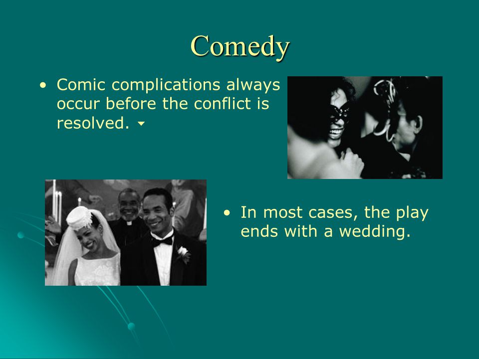 Comedy Comic complications always occur before the conflict is resolved.