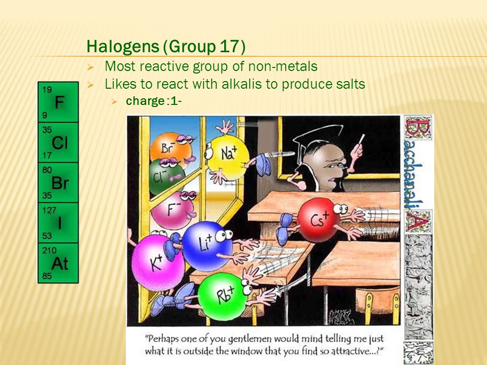 Halogens (Group 17) Most reactive group of non-metals