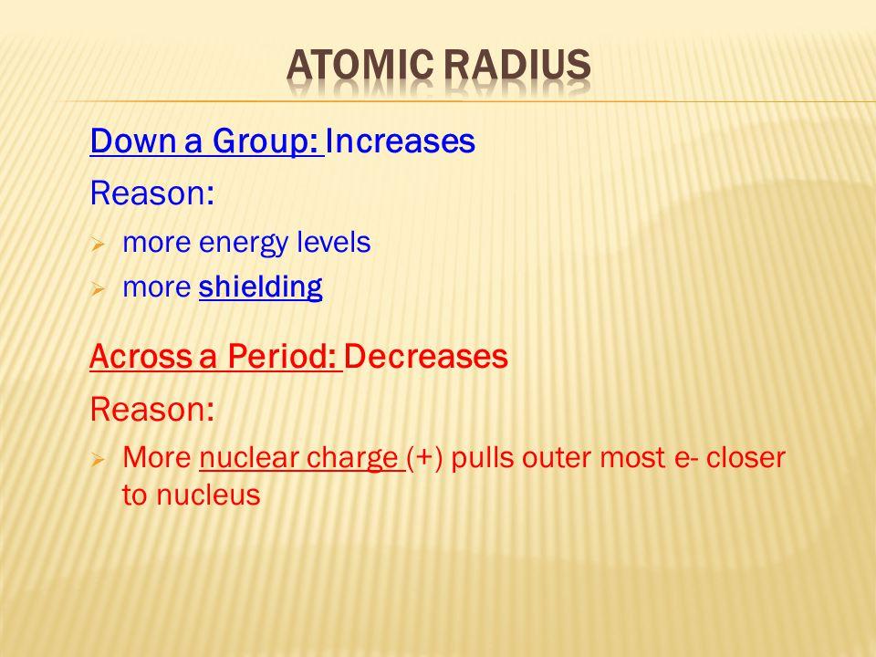 Atomic Radius Down a Group: Increases Reason: