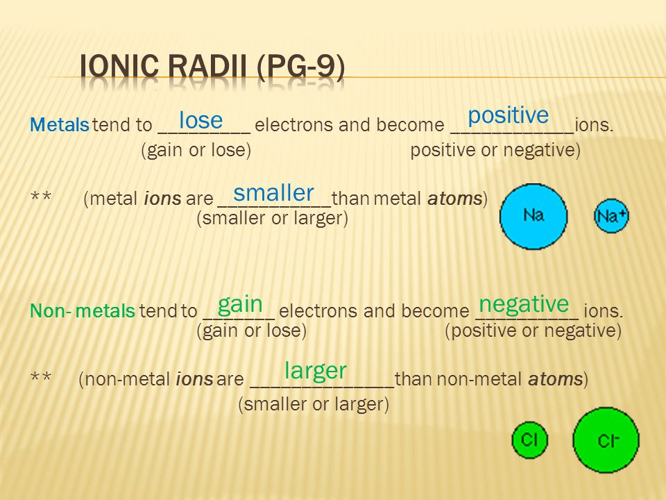 Ionic radii (pg-9) positive lose smaller gain negative larger