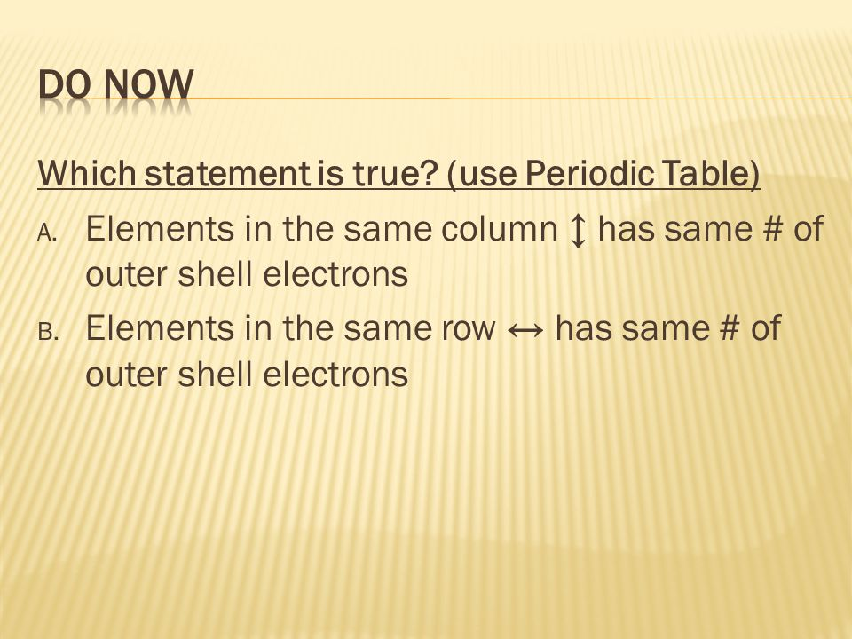 Do Now Which statement is true (use Periodic Table)