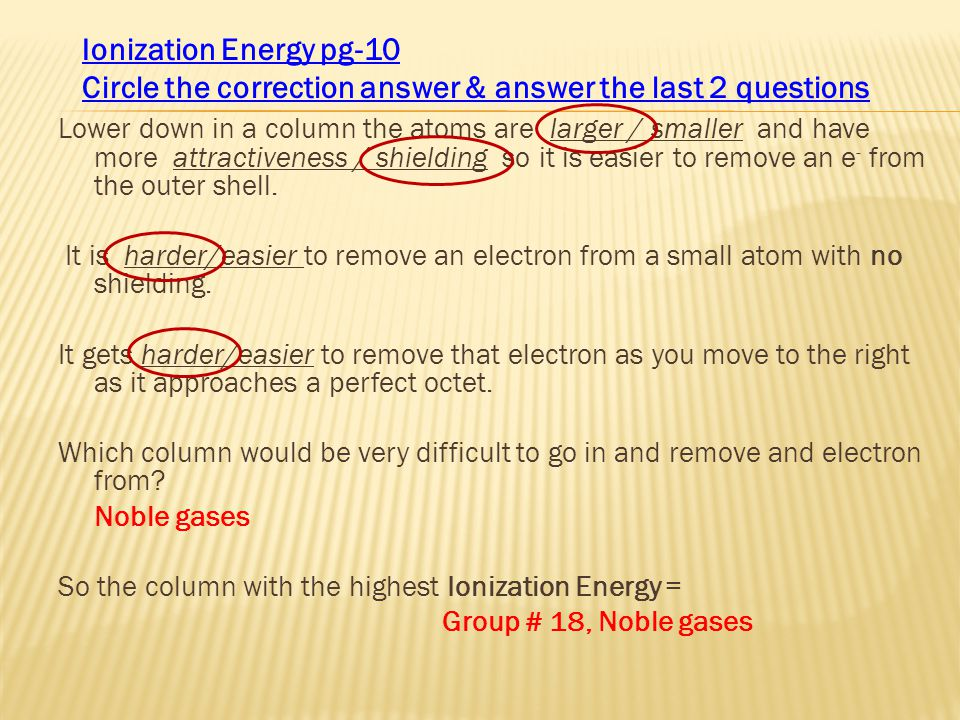 Circle the correction answer & answer the last 2 questions
