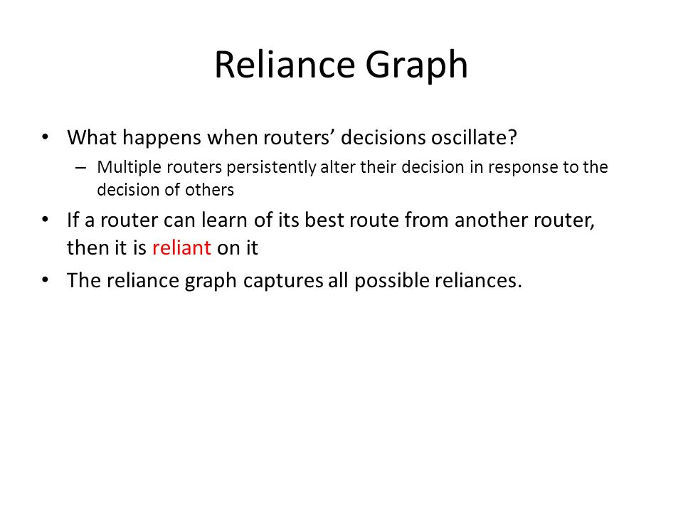 Reliance Graph What happens when routers' decisions oscillate