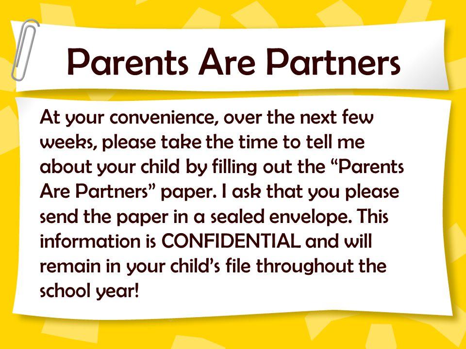 Parents Are Partners