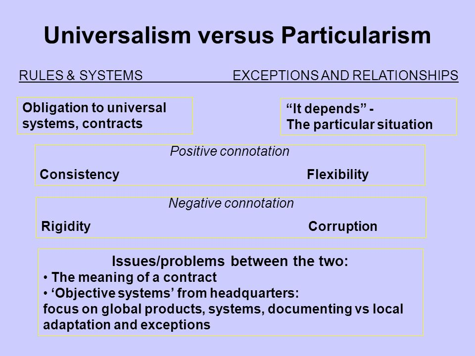 Universalism versus Particularism Issues/problems between the two: