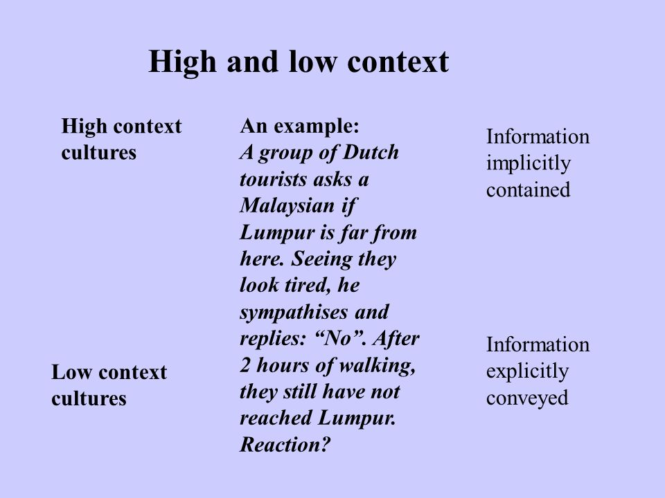 High and low context High context An example: Information cultures