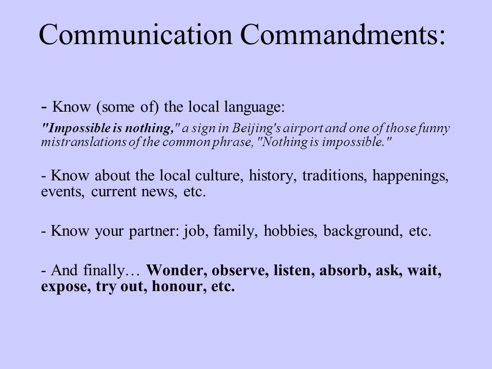 Communication Commandments: