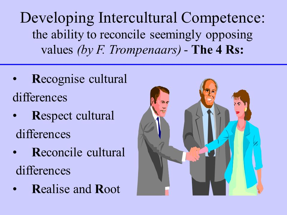 Developing Intercultural Competence: the ability to reconcile seemingly opposing values (by F. Trompenaars) - The 4 Rs: