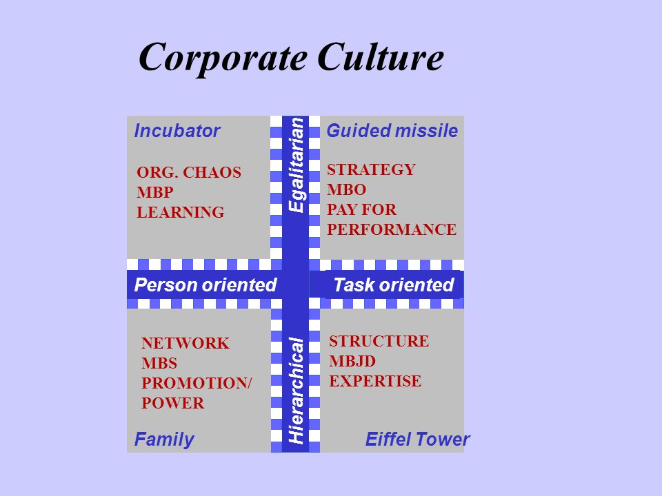 Corporate Culture Incubator Guided missile Egalitarian Person oriented
