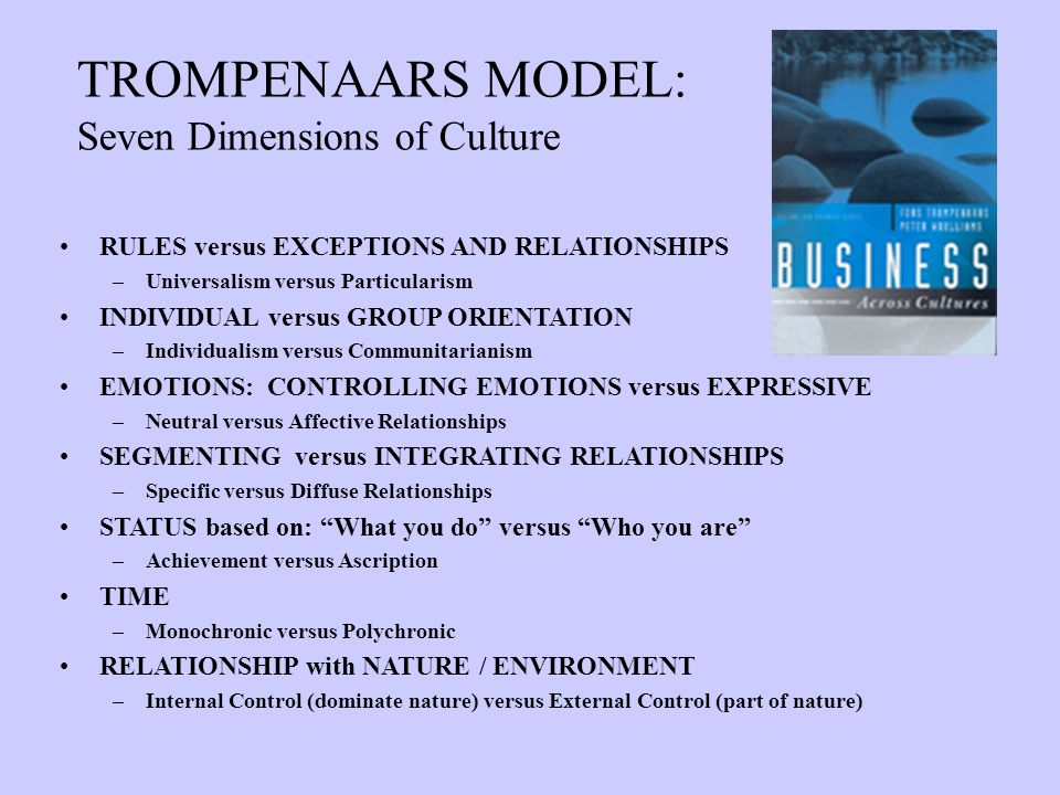 TROMPENAARS MODEL: Seven Dimensions of Culture