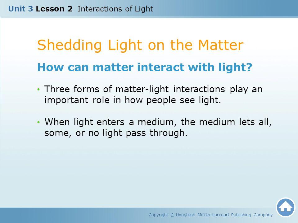 Shedding Light on the Matter