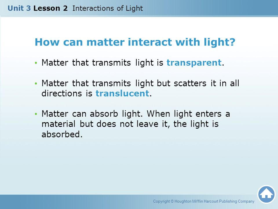 How can matter interact with light