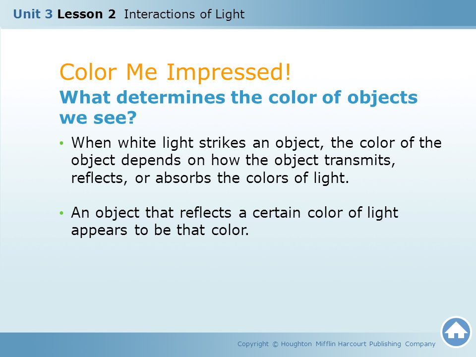 Color Me Impressed! What determines the color of objects we see