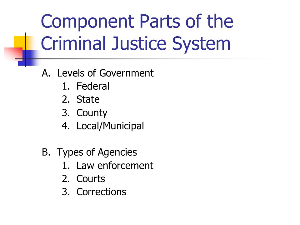 Component Parts of the Criminal Justice System